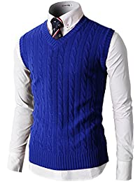 H2H Mens Casual Knitted Slim Fit V-neck Vest With Twisted Patterned