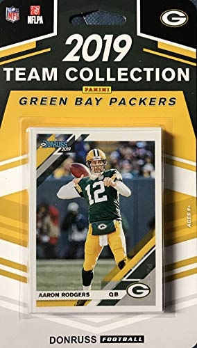 Green Bay Packers 2019 Donruss Factory Sealed 11 Card Team Set with Aaron Rodgers and Brett Favre Plus a Jace Sternberger Rated Rookie Card and 8 Other Players