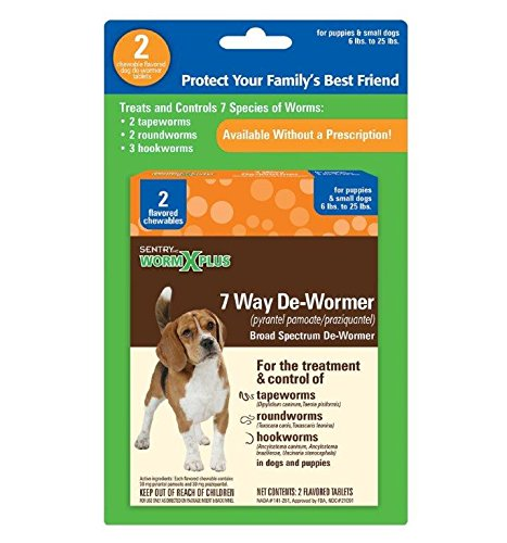 SENTRY HC WormX Plus 7 Way De-Wormer For Small Dog, 2 Chewable Tablets (Best Deworming Tablets For Dogs)