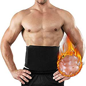 Santo Waist Trimmer, Waist Trainer Belt, Slimmer Kit, Weight Loss Belt, Adjustable Stomach Belly Fat Burner Wrap, Lumber Back Support Belt for Men & Women (Black, L)