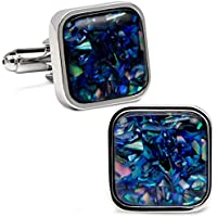 VIILOCK Fancy Nebula Mother of Pearl Square Cufflinks for Men Deep Space Cufflink Set Mens Wedding Business Gift