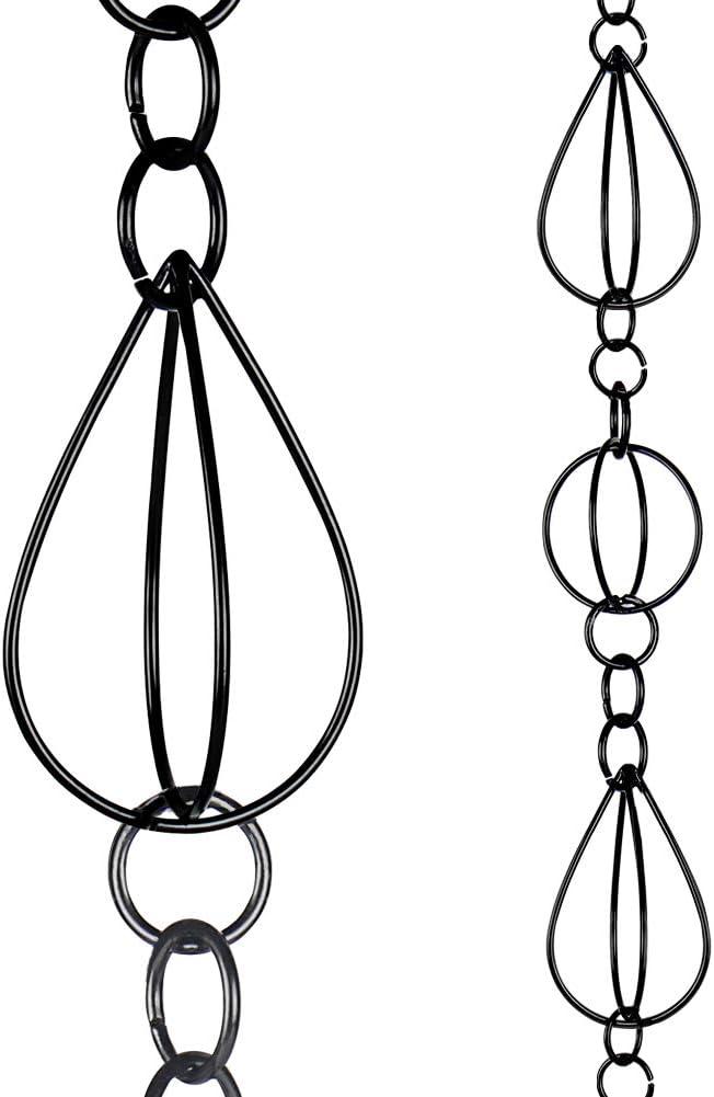Hanayard Oval Loop Rain Chain Black Rust-Proof Chain Outdoor Teardrop Decor Downspout Substitution 8.5 Feet Long - 18 Teardrop Cups
