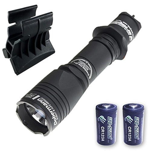 Newly Upgraded: Armytek Dobermann Pro v3 XHP35 Hi Flashlight -1400 Lumens - Cool White w/AWM-03 Magnetic Gun Mount & 2x FREE Eco-Sensa Premium CR123A Batteries by Armytek