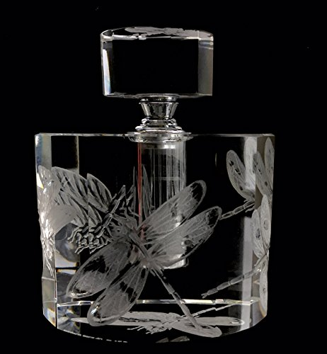 Hand Engraved Perfume Bottle, Dragonflies, Mothers Day gifts, Bridal gifts Dragonflies, Etched gifts, Vanity, Perfume Bottle Engraved by Akoko Art Handengraved Crystal Glass