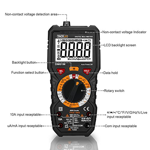 Tacklife DM01M Advanced Digital Multimeter Trms 6000 Counts Tester Non Contact Voltage Detection Amp Ohm Volt Multi Meter Temperature, Live Line, with LCD Backlit, Red/Black by TACKLIFE (Image #1)