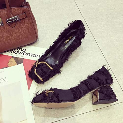 High High Wild Small heels Female Temperament Women'S Shoes And Fresh Heels Shoes With Fresh Yukun Autumn Single Black dtq1WwdO