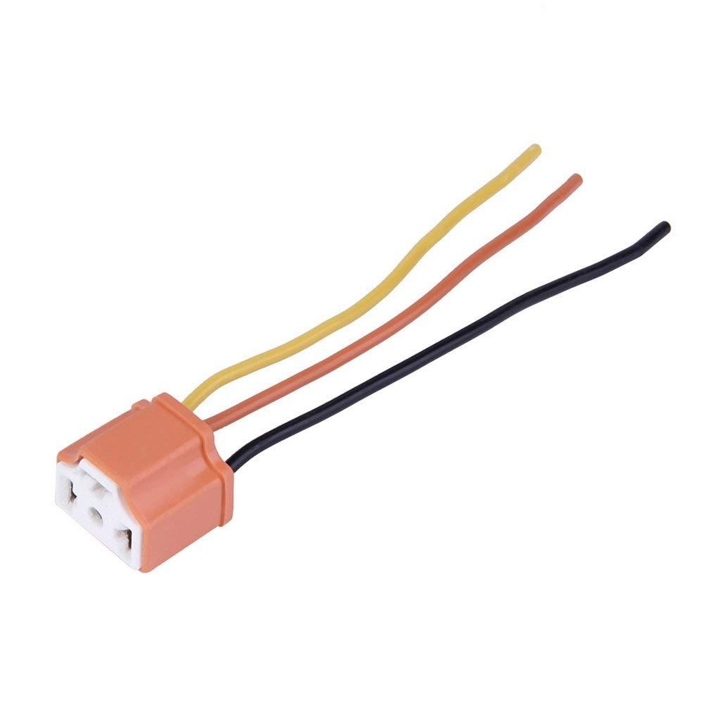 leoboone H4 Car Truck Female Ceramic Headlight Extension Connector Plug Light Lamp Bulb Wire Socket Adapter 12V Orange