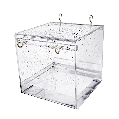 Gosear Hanging Bird Bath, Cube Bird Bathtub Bath Box Bowl Cage Accessory for Little Bird Parrots Crested Myna