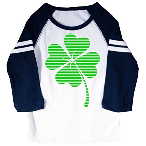 [Happy Family Clothing Kids St. Patrick's Day Lucky Four Leaf Clover Raglan T-shirt (4/5T, White &] (Baby St Patricks Day Clothing)