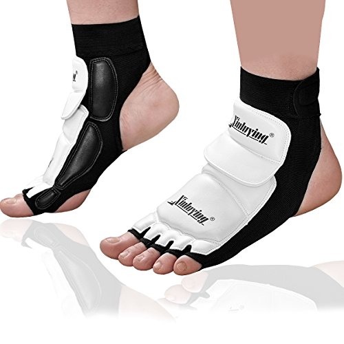 Foot Guard (Xinluying Women Men Taekwondo Foot Protector Gear Martial Arts Fight Boxing Punch Bag Sparring MMA UFC Thi Leather L)