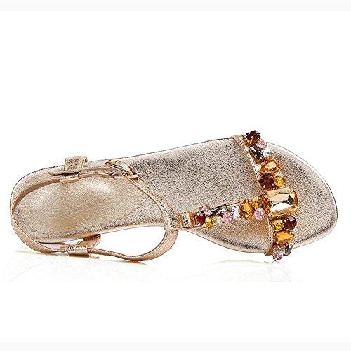 L@YC Women Flat Shoes Summer Dermis Flat With Sandals Diamond Size Code Word Buckle Gold SL4GmFG