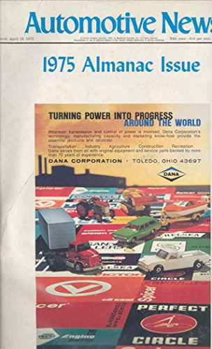 April 1975 Publication  Automotive News Almanac Issue Automobile Book