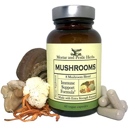 Mortar and Pestle Herbs Mushroom Capsules - 8 Species - Turkey Tail, Maitake, Shiitake, Cordyceps, Snow Fungus, Lion's Mane, Reishi, Chaga, Wellness and Immune Blend, Non-GMO, 60 Vegan Capsules