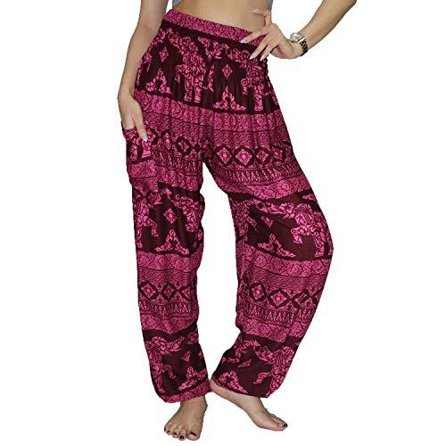 Lofbaz Women's Rayon Smocked Waist Flowy Hippie Boho Harem Pants - Elephant 8 Magenta -