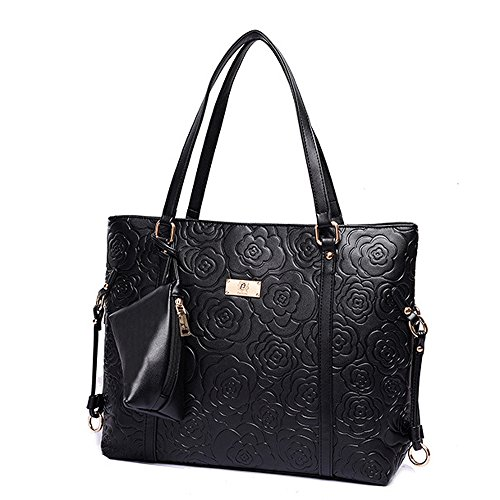 Women Handbag,Women Bag, KINGH Vintage Rose Embossed PU Leather Shoulder Bag 088 Black