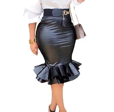 Doufine Falda de Piel sintética para Mujer, Color Puro, Sirena ...