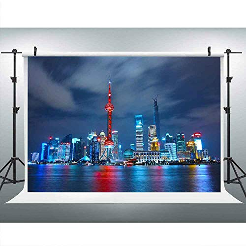 (MME 10x7Ft Shang Hai Night View Backdrop The Bund Skyscraper The Oriental Pearl Tower China Landmark Background Vinyl Video Studio Props Photo Props LUME106)