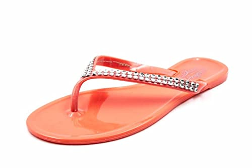 Charles Albert Women s E-Rhinestone Jelly Thong Sandal in Coral Size  8
