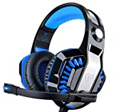DIZA100 Gaming Headset Noise Isolation Headphones with Microphone Volume Control and LED Light Xbox One Headset for PS4, PC, Mac, Computer-Blue