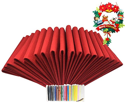 Levylisa 30pcs (12''x12'') Red Felt Sheets, Christmas Red Felt Fabric, Pure Red Felt Assortment, Large Felt Square,Christmas Ornaments, Stockings and Wreaths, Holiday Crafts, Red Felt Fat Quarters