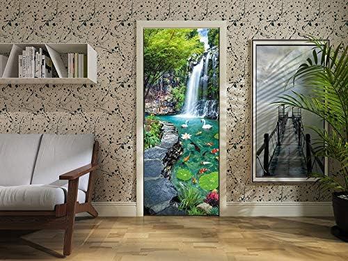 3D Garden Landscape Self adhesive Bedroom Door Sticker Mural Photo Wallpaper