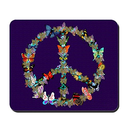 CafePress - Butterfly Peace Sign Blanket 1 - Non-Slip Rubber Mousepad, Gaming Mouse Pad]()