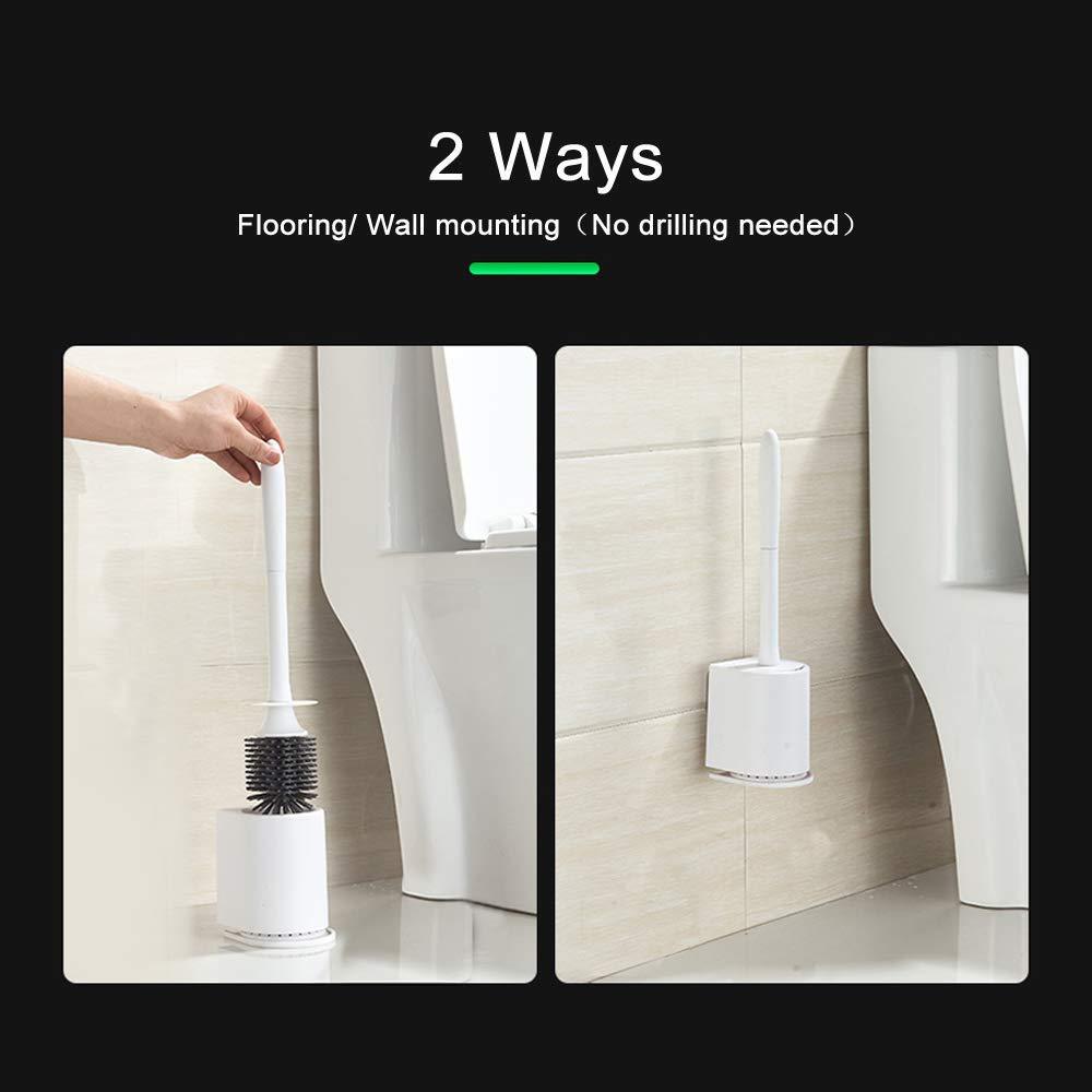 MDCEO Scopino e porta spazzolino,morbido bagno in silicone set di spazzole per toilette bianco foro di ventilazione Montaggio a Parete//Pavimento le gocce dacqua sono naturalmente asciugate