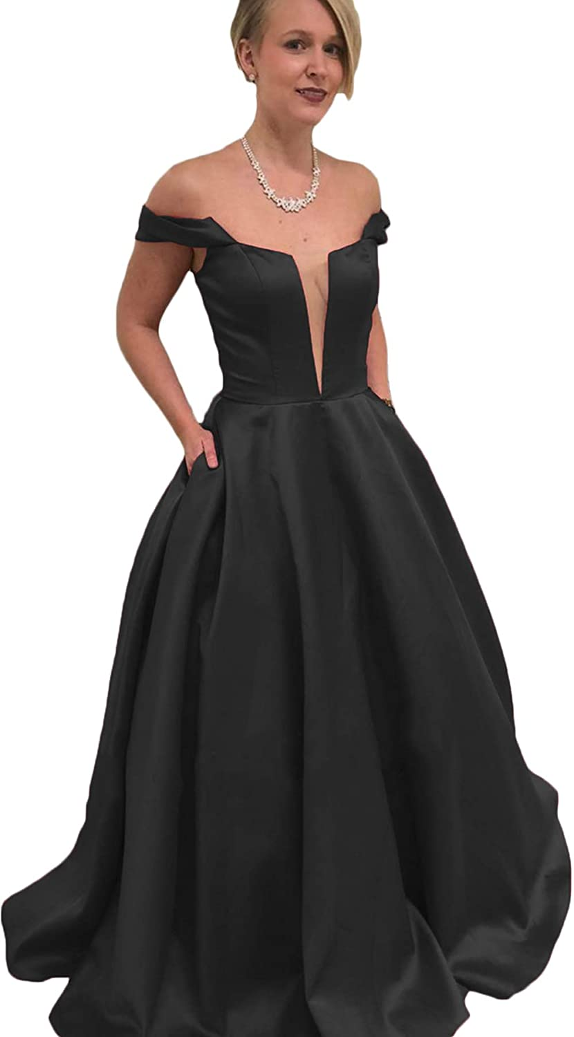 Black Rmaytiked Womens Off The Shoulder Ruffle Prom Dresses Long 2019 Satin A Line Formal Evening Ball Gowns with Pockets