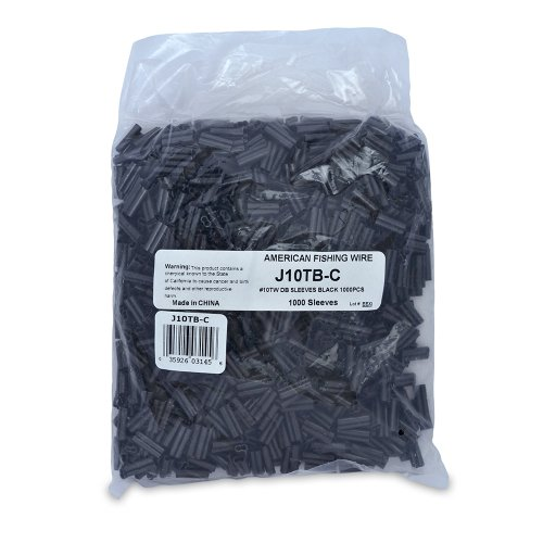 American Fishing Wire Thin Wall Double Barrel Crimp Sleeves (Black/10T, 0.081-Inch, 50-Pieces)