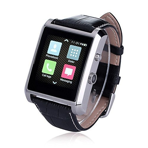 Olivia Bluetooth 4.0 Smart Watch Waterproof Wrist Phone Camera Touch Screen PU Leather Strap Band Smartwatch for IOS iPhone 6 6 plus Samsung Android Smartphones Arm Wristband Accessories, Silver