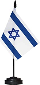 """ANLEY Israel Deluxe Desk Flag Set - 6 x 4 Inch Miniature Israeli Desktop Flag with 12"""" Solid Pole - Vivid Color and Fade Resistant - Black Base and Spear Top"""