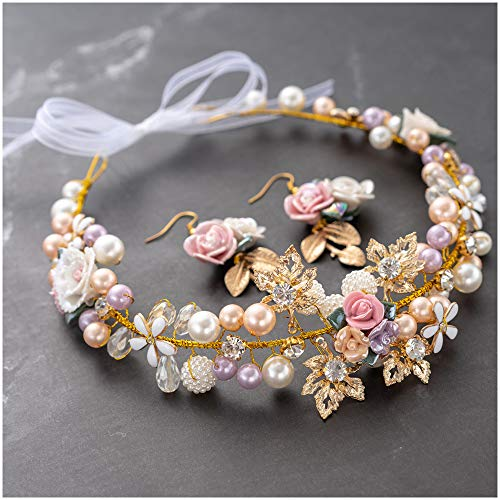 Bridal Girls Headband Luxurious Champagne Purple White Artificial Pearls, Porcelain Roses Flowers, Crystal Beads, Gold Leaves Decor Floral Wedding Tiara Headpiece with Ribbons + Earrings