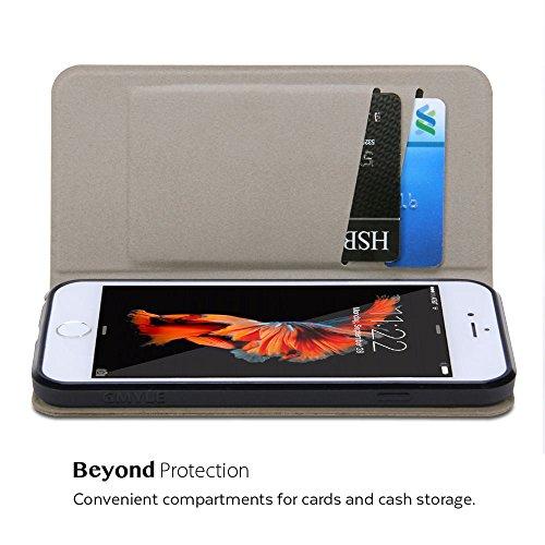 iPhone 6s Hülle, GMYLE Wallet Case Slim für iPhone 6s - Mintgrün & Aluminiumgrau Gewitzt Tasche Hülle