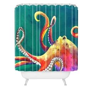 DENY Designs Clara Nilles Mardi Gras Octopus Shower Curtain, 69 x 72