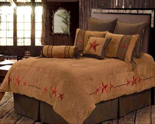 Luxurious Red Triple Star Rustic Comforter Bedding Bedroom Set - 6 Pieces (Super Queen)