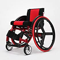 Sports and Leisure Wheelchair Folding Light Portable with Ultra Light Aluminum Alloy Quick Release Rear Wheel Shock Absorber Trolley Disabled Elderly Driving Medical