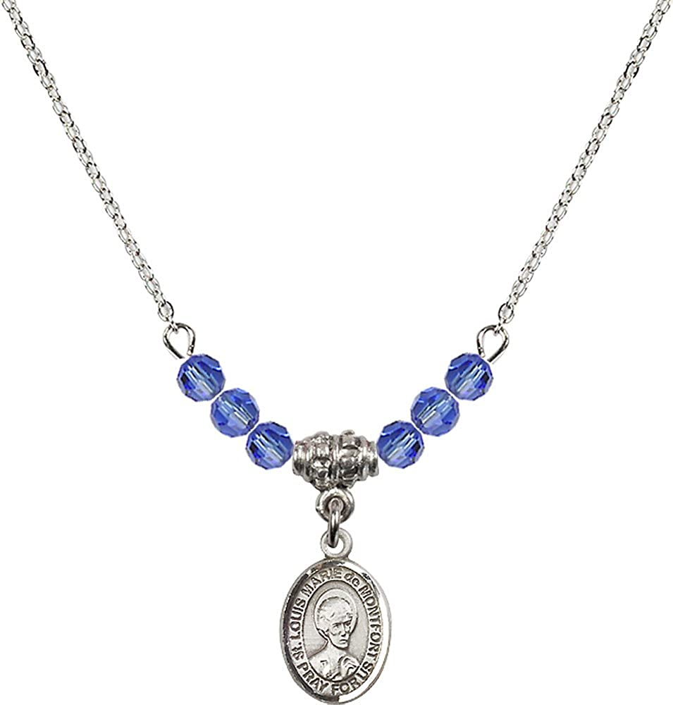 18-Inch Rhodium Plated Necklace with 4mm Sapphire Birthstone Beads and Sterling Silver Saint Louis Marie de Montfort Charm.