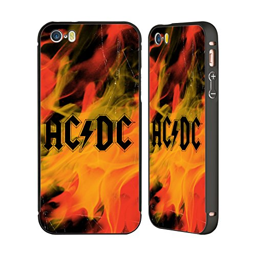Officiel AC/DC ACDC Flame Logo Noir Étui Coque Aluminium Bumper Slider pour Apple iPhone 5 / 5s / SE