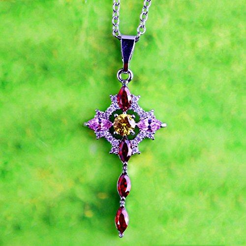 organite Ruby & Blue Topaz Gemstone Silver Pendant Necklace Ruby Spinel ()