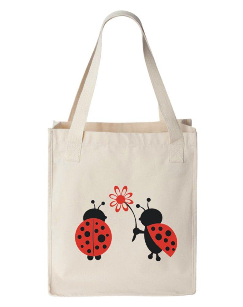 Ladybugs Canvas Tote Bag, Organic Cotton, Natural