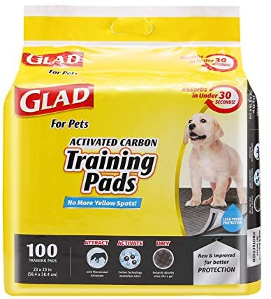 Glad for Pets Black Charcoal Puppy Pads-New & Improved Puppy Potty Training Pads That ABSORB & NEUTRALIZE Urine Instantly-Training Pads for Dogs, Dog Pee Pads, Pee Pads for Dogs, Dog Crate Pads