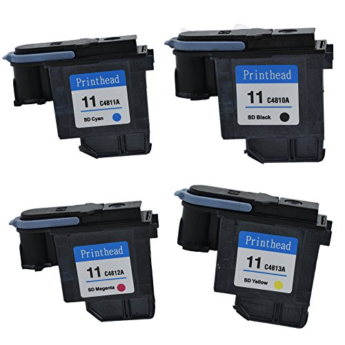 lucky time Remanufactured HP 11 Replacement For HP 11 Printhead C4810A C4811A C4812A C4813A Work With Designjet 500 500 Plus HP Officejet 9110 9120 9130 Business Inkjet 1000 2200 (1 set) (Printhead 11 Hp)