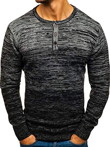 Mens Sweaters Crewneck Button Long Sleeve Knitted Slim Fit Fall Polo Pullover Black
