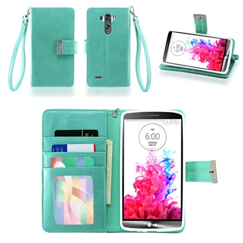 IZENGATE LG G3 Wallet Case - Executive Premium PU Leather Flip Cover Folio with Stand (Mint) (Phone G3 Lg With Wallet Cases)