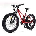 Adulti Fat Tire elettrica Mountain Bike, Biciclette da Neve 350W, Portatile 10Ah Li-Battery Beach Cruiser Biciclette, 26…