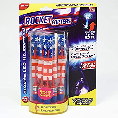 Rocket Copters Slingshot Led Mini Light Up Helicopters - As Seen on TV, Red/White/Blue: Toys & Games