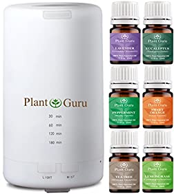 Plant Guru Essential Oil Ultrasonic Diffuser 70 ml. Starter Kit With 6 - 5 ml. Essential Oils Set For Beginners USB Auto Shut-off and 7 Color LED Lights. Use In Car, Home, Bedroom, Bathroom or Office