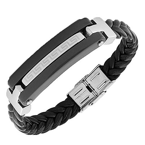My Daily Styles Stainless Steel Black Faux PU Leather Silver-Tone Greek Key Men's Bracelet