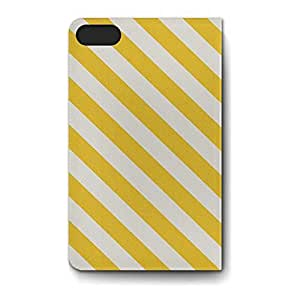 Leather Folio Phone Case For Apple iPhone 5S Leather Folio - Yellow Summer Stripes Stand Wrap-Around