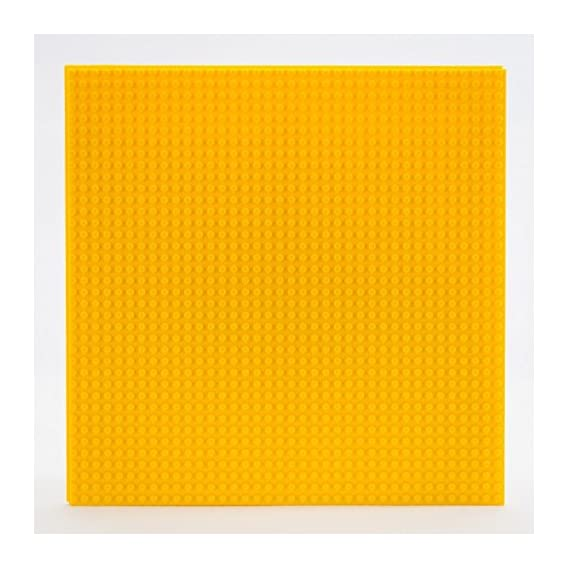 EduToys Base Plate Board Yellow 10 x 10 Inch (32 x 32 Pegs) for Building Blocks Bricks Compatible